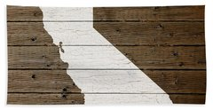Map Of California State Outline White Distressed Paint On Reclaimed Wood Planks Beach Towel