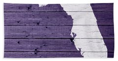 Map Of Florida State Outline White Distressed Paint On Reclaimed Wood Planks Beach Towel