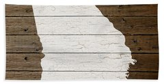Map Of Georgia State Outline White Distressed Paint On Reclaimed Wood Planks Beach Towel