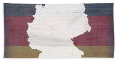 Map Of Germany In White Old Paint On German Flag Barn Wood Beach Towel