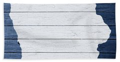 Map Of Iowa State Outline White Distressed Paint On Reclaimed Wood Planks Beach Towel