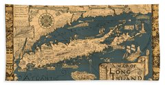 Map Of Long Island Beach Towel