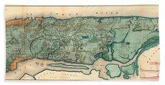 Map Of Manhattan Beach Towel