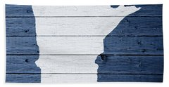 Map Of Minnesota State Outline White Distressed Paint On Reclaimed Wood Planks Beach Towel