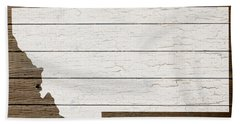 Map Of Montana State Outline White Distressed Paint On Reclaimed Wood Planks Beach Towel