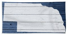Map Of Nebraska State Outline White Distressed Paint On Reclaimed Wood Planks Beach Towel