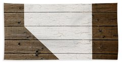 Map Of Nevada State Outline White Distressed Paint On Reclaimed Wood Planks Beach Towel
