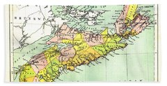 map of Nova Scotia - 1878 Beach Towel