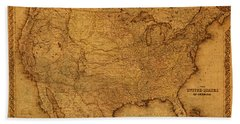 Map Of United States Of America Vintage Schematic Cartography Circa 1855 On Worn Parchment  Beach Towel