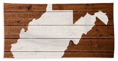 Map Of West Virginia State Outline White Distressed Paint On Reclaimed Wood Planks Beach Towel