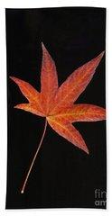 Maple Leaf On Black 2 Beach Towel