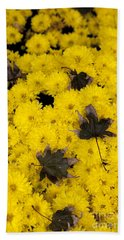 Maple Leaves On Chrysanthemum Beach Towel
