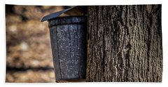 Maple Syrup Time Collecting Sap Beach Towel