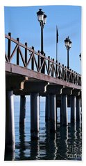 Beach Towel featuring the photograph Marbella Pier Spain by Clare Bevan
