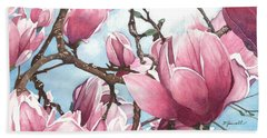 Beach Sheet featuring the painting March Magnolia by Barbara Jewell