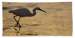 March Of The Egret Beach Towel