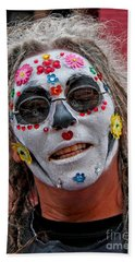 Mardi Gras Happy Face Beach Towel by Luana K Perez