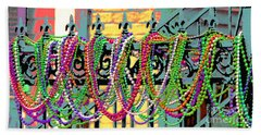 Mardi Gras On Fleur-de-lis Beach Towel by Luana K Perez