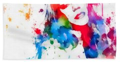 Mariah Carey Watercolor Paint Splatter Beach Towel