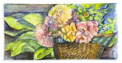 Marias Basket Of Peonies Beach Towel