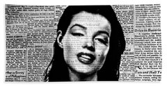 Marilyn Monroe On Vintage Newspaper Beach Towel