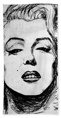 Beach Sheet featuring the painting Marilyn Monroe by Salman Ravish
