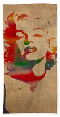 Marilyn Monroe Watercolor Portrait On Worn Distressed Canvas Beach Towel by Design Turnpike