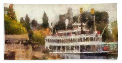 Mark Twain Riverboat Frontierland Disneyland Photo Art 02 Beach Towel by Thomas Woolworth