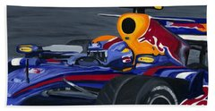 Mark Webber R B R Charging 2008  Beach Towel