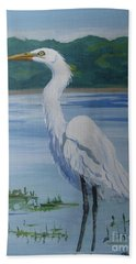 Marsh Land Egret Beach Towel