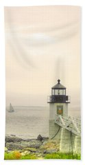 Marshall Point Lighthouse In Maine Beach Towel by Denyse Duhaime