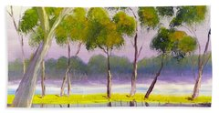 Beach Towel featuring the painting Marshlands Murray River Red River Gums by Pamela  Meredith
