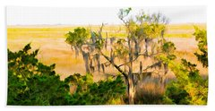 Marsh Cedar Tree And Moss Beach Towel
