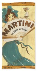 Martini Dry Beach Towel by Debbie DeWitt