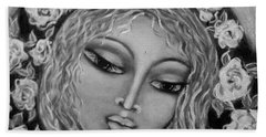 Mary Mary In Black And White Beach Towel