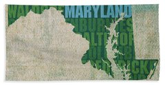Maryland Word Art State Map On Canvas Beach Towel