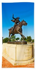 Beach Towel featuring the photograph Masked Rider Statue by Mae Wertz
