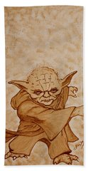 Beach Towel featuring the painting Master Yoda Jedi Fight Beer Painting by Georgeta  Blanaru