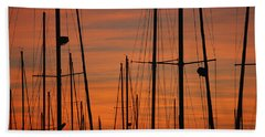 Masts At Sunset Beach Towel