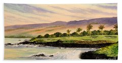 Mauna Kea Golf Course Hawaii Hole 3 Beach Towel by Bill Holkham
