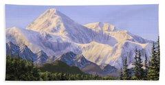 Majestic Denali Mountain Landscape - Alaska Painting - Mountains And River - Wilderness Decor Beach Towel