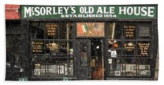 Mcsorley's Old Ale House During A Snow Storm Beach Sheet