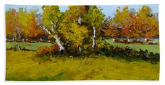 Meadow In Autumn Beach Towel by Fred Wilson
