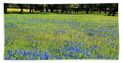 Meadows Of Blue And Yellow. Texas Wildflowers Beach Sheet by Connie Fox