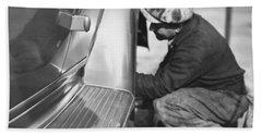 Mechanic Working On Car Beach Towel