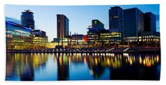 Media City At Dusk, Salford Quays Beach Towel