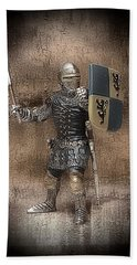 Beach Towel featuring the mixed media Medieval Knight by Aaron Berg