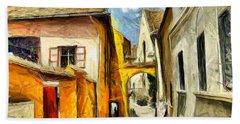 Medieval Street In Sighisoara Transylvania Romania - Painting Beach Sheet