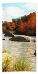 Fall Cypress At Bandera Falls On The Medina River Beach Towel