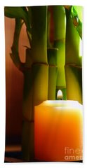 Meditation Candle And Bamboo Beach Towel